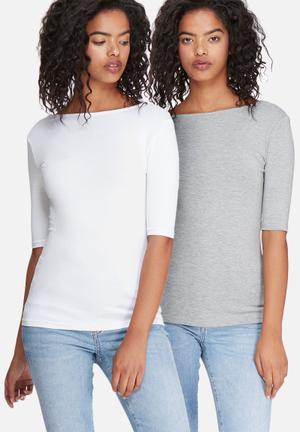 Dailyfriday Scoop Back Tee - 2 Pack T-Shirts, Vests & Camis White & Grey