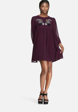 Glamorous Embroidered Babydoll Dress Formal Deep Purple
