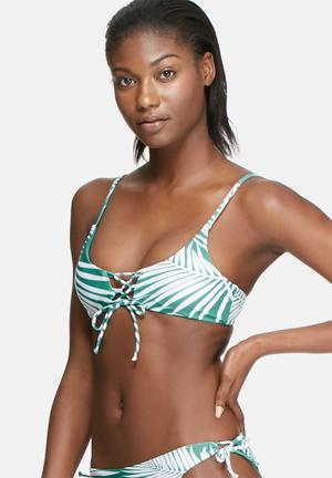 Bacon Bikinis Reversible Lace Up Top Swimwear Green & White