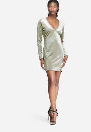 Glamorous Velvet Bodycon Dress Occasion Mint Green