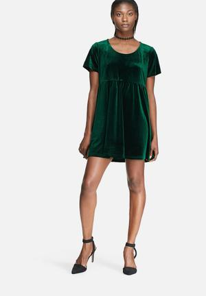 Glamorous Velvet Smock Dress Casual Green