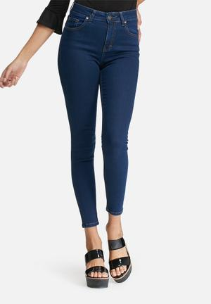Dailyfriday High Waisted Skinny Jeans Dark Blue
