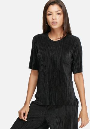 Dailyfriday Plisse Step Hem Top Blouses Black
