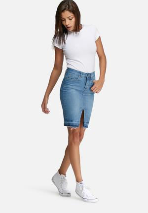 Dailyfriday Raw Hem Denim Pencil Skirt Light Blue