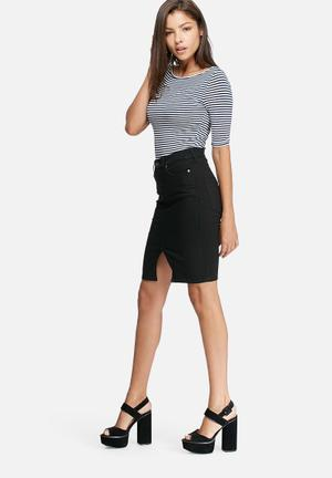 Dailyfriday Denim Pencil Skirt Black