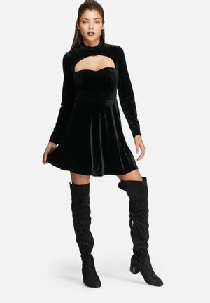 Glamorous Open Chest Velvet Dress Occasion Black