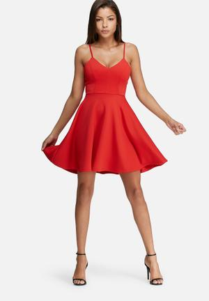 Dailyfriday Scuba Fit & Flare Dress Occasion Red