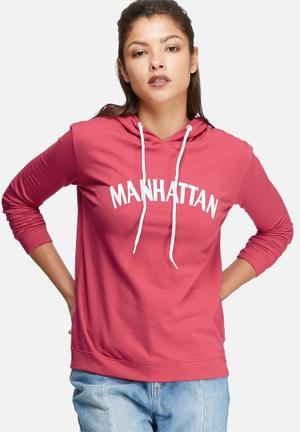 Daisy Street Hoodie With Manhattan Print Hoodies & Jackets Pink & White