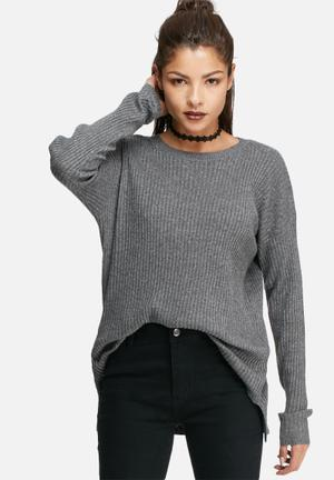 Glamorous Basic Knit Top Knitwear Grey