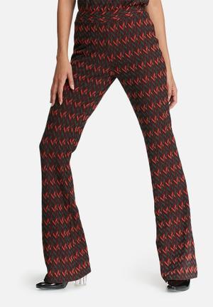 Glamorous Chevron Printed Flared Pants Trousers Burgundy, Orange, Black & Grey