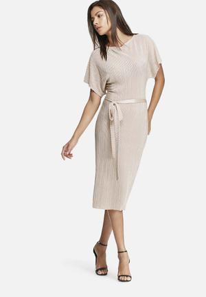 Dailyfriday Plisse Midi Dress With Self Fabric Belt Casual Soft Cream