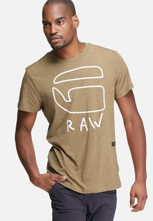 G-Star RAW Brons Regular Tee T-Shirts & Vests Brown & White