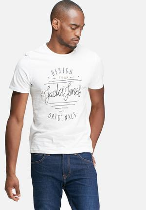 Jack & Jones Originals Type Tee T-Shirts & Vests White, Black & Brown