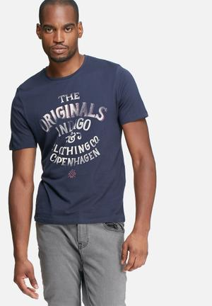 Jack & Jones Originals Type Tee T-Shirts & Vests Navy, Cream & Pink