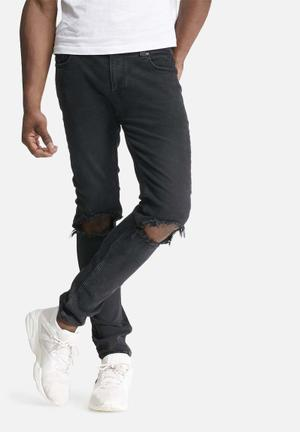 Only & Sons Warp Knee Cut Denim Jeans Black