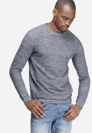 Only & Sons Sam Melange Knit Knitwear Blue & White Melange
