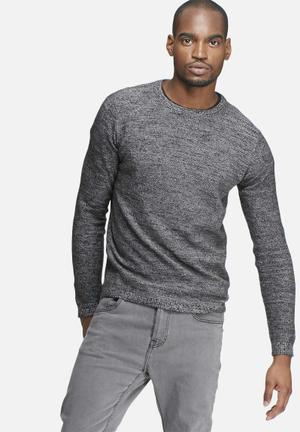 Only & Sons Sam Melange Knit Knitwear Black & White Melange