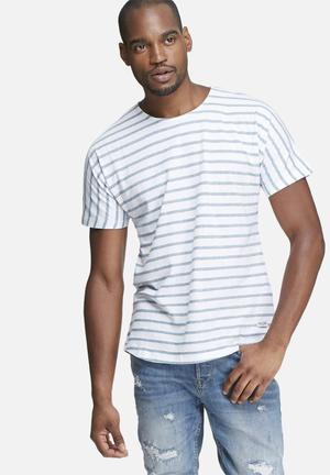 Only & Sons Nanak Regular Fit Tee T-Shirts & Vests White & Blue