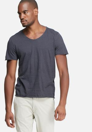 Selected Homme Merce Stripe Tee T-Shirts & Vests Blue & Black