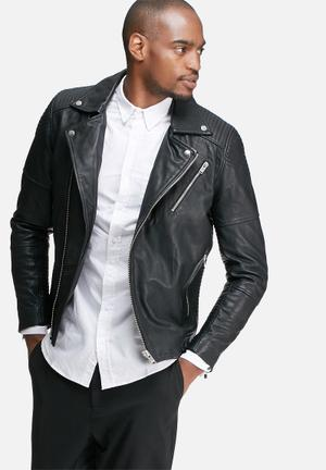 Selected Homme Leeds Biker Leather Jacket Black