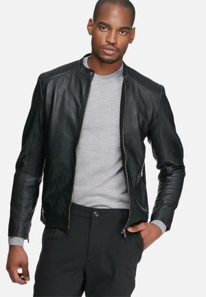 Selected Homme Field Leather Jacket Black