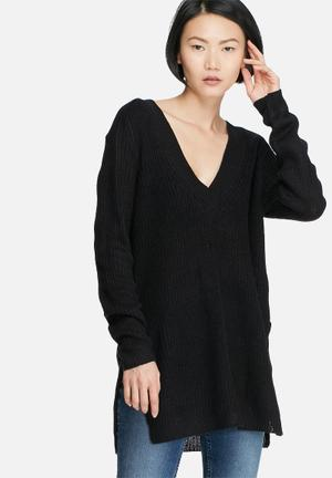 Jacqueline De Yong Sunny V-neck Sweater Knitwear Black