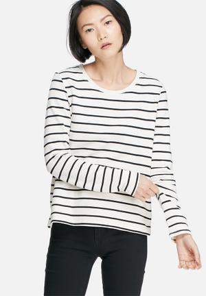 Jacqueline De Yong Sorrento Crop Sweat T-Shirts Cream & Navy