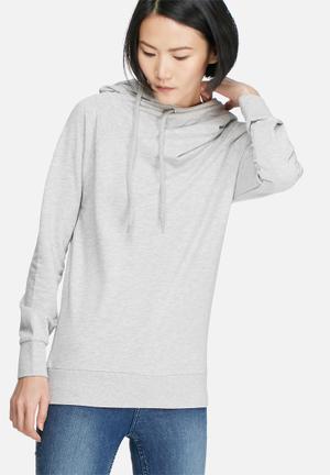 Jacqueline De Yong Maranto Hooded Sweat Hoodies & Jackets Light Grey