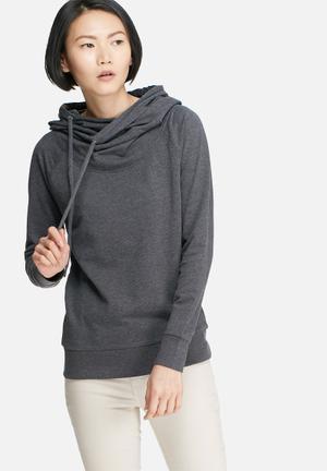 Jacqueline De Yong Maranto Hooded Sweat Hoodies & Jackets Dark Grey