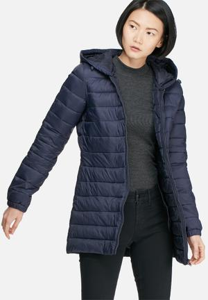 Jacqueline De Yong Mash Quilted Nylon Long Coat Jackets Navy