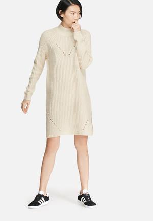 VILA Semina Knit Dress Casual Beige