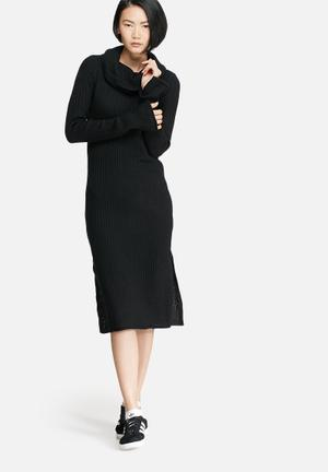 VILA Rib Knit Dress Casual Black