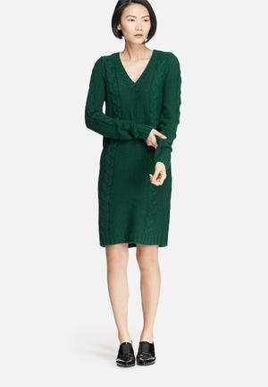 VILA Riva Cable Knit Dress Casual Green