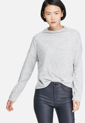 VILA Lune Knit Top Blouses Grey