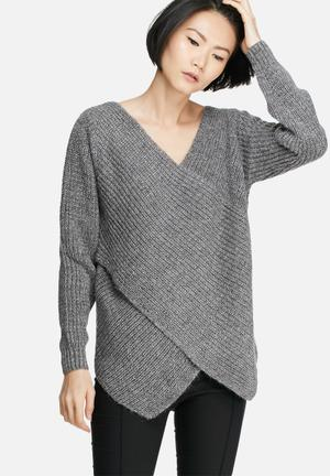 VILA Match Wrap Knit Knitwear Grey