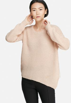 VILA Matcha Asymmetric Knit Knitwear Dusty Pink