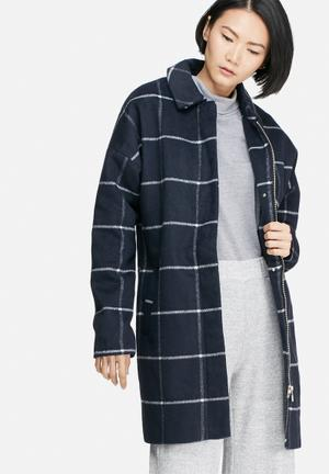 VILA Lerka Wool Coat Navy & White