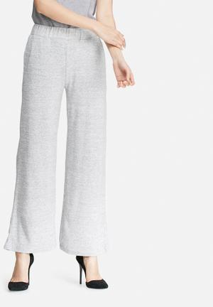 VILA Lune Wide Knit Pants Trousers Grey Melange