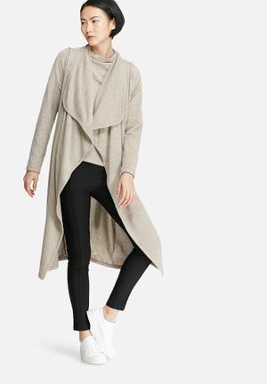 VILA Lune Coatigan Knitwear Soft Brown Melange