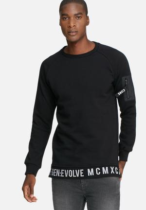 Jack & Jones CORE Evolve Crew Sweat Hoodies & Sweatshirts Black & White