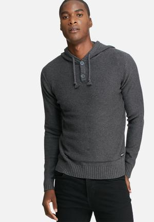 Only & Sons Daniel Hoodie Knit Knitwear Charcoal