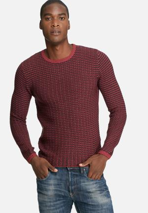 Only & Sons Dyson Knit Knitwear Burgundy & Navy