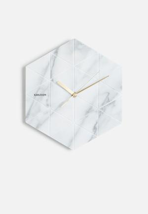 Present Time Marble Hexagon Wall Clock Accessories Marble
