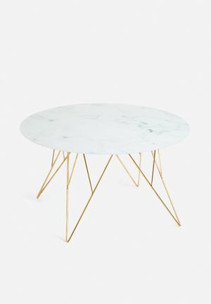 Sixth Floor Prunus Coffee Table Glass With Frosted Marble Print & Metal Base
