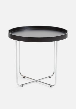 Sixth Floor Tracy Lamp Table Lacquered Table Top & Chrome Frame