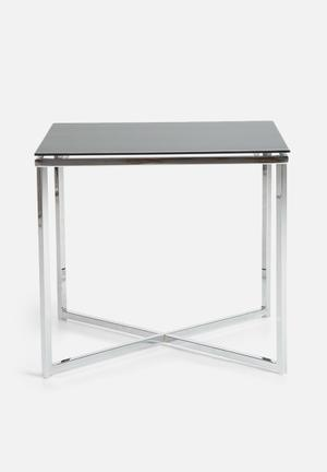 Sixth Floor Cross Lamp Table Glass & Chrome