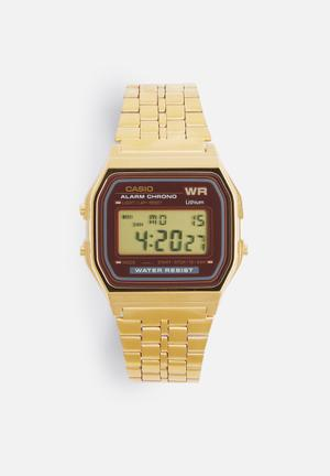 Casio Digital Wrist Watch Gold & Maroon