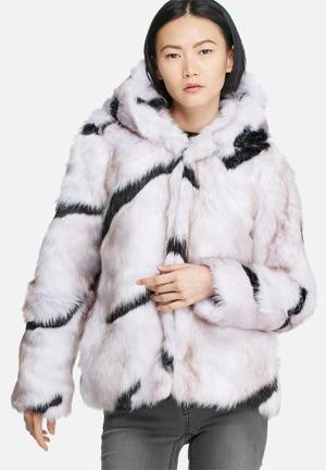 Glamorous Zebra Faux Fur Coat Jackets Lilac & Black
