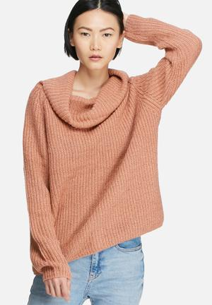 Glamorous Wide Neck Knit Knitwear Dusty Pink