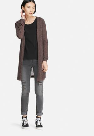 Vero Moda Altha Long Slit Cardigan Knitwear Brown